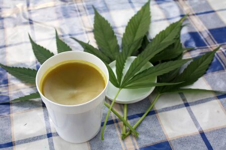 liniment: Hemp naturally homemade ointment Stock Photo