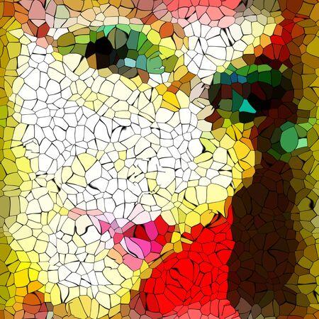 ojos negros: Abstract Girl mosaico ojos labios Foto de archivo