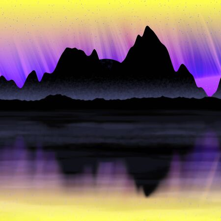 aurora borealis: Northern Light panorama illustration