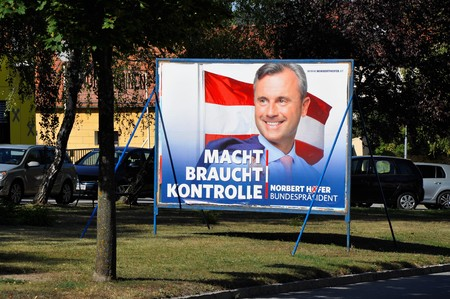 Breitenbrunn, Burgenland, Austria – September 1, 2016: Billboard with Norbert Hofer, candidate FPO party in presidential election, which will be repeated in December 2016 because of manipulation with votes.