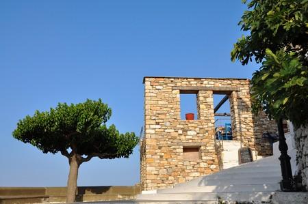 renovated: Alonissos island, Greece – June 28, 2016: Old Alonissos view image.