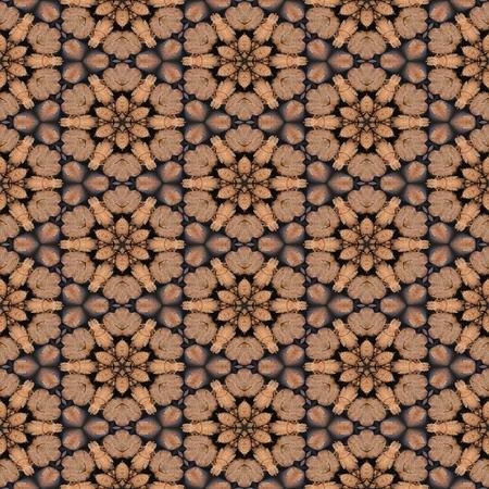 ecru: Brown ornate ornamental decor pattern or background