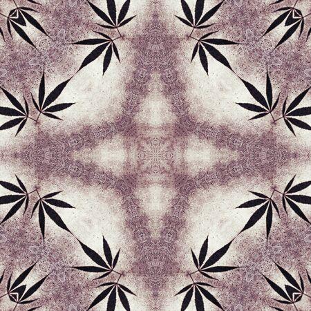 symmetrical: Ganja leaves symmetrical marble star hippie background