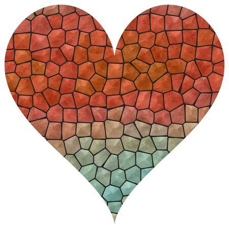 azure: Mosaic big red and azure heart Stock Photo