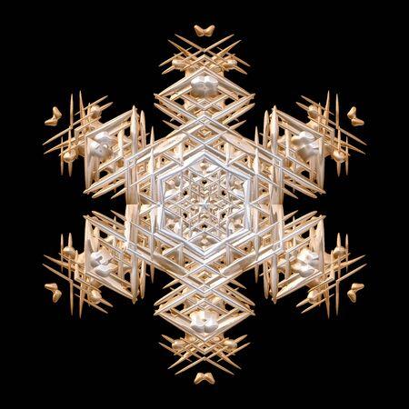 bronzed: Winter december xmas 3D art deco victorian ornate snowflake decoration on black Stock Photo