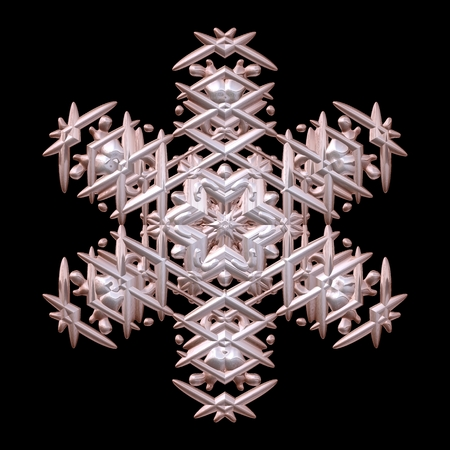 crystalline gold: Wonderful symmetry 3d render metal xmas winter snowflake