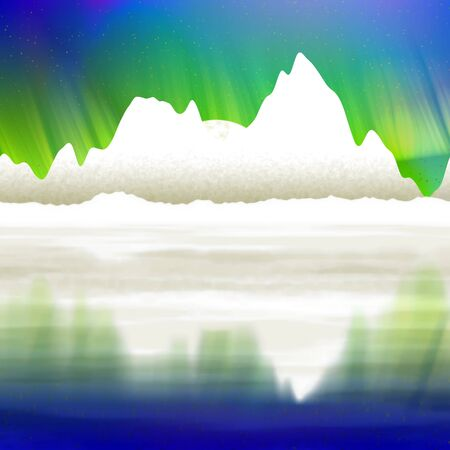 Artic pole with aurora graphic digitally landscape