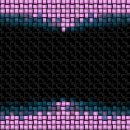 Abstract black square knit background with  upper and lower pink decoration