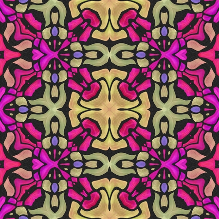 kaleidoscop: Beautiful colorful pink fuchsia and beige ornamenteal seamless tile