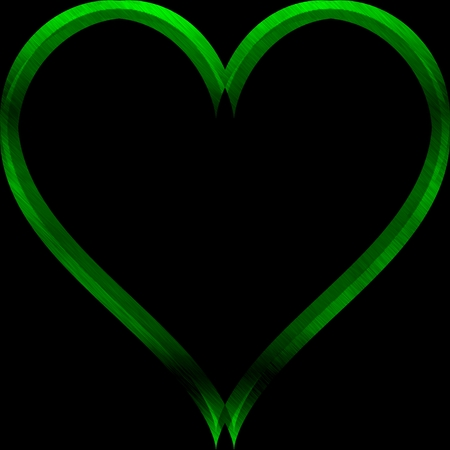 Abstract green heart lighting on black background with space for text 版權商用圖片
