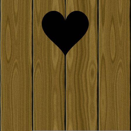 latrine: Brown black heart latrine door symbol rural wooden planks  Stock Photo