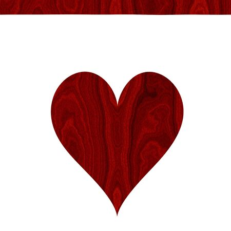 Red brown wooden beautiful heart with wooden line stripe up
