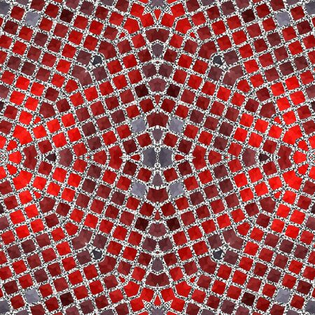 Luxury red silver mosaic geometric pattern tile background design