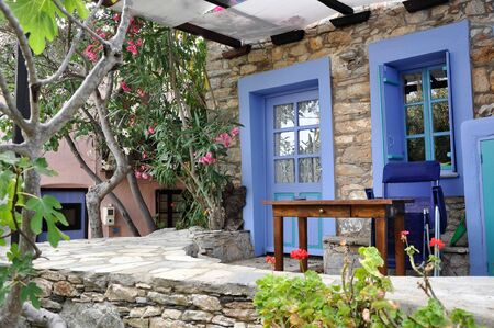 renovated: Detail of renovation in Old Alonissos village, Greece. Editorial