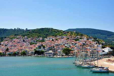 Skopelos island, Sporades, Greece – June 25, 2016: View of Skopelos from sea