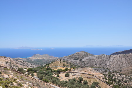 Typical landscape of Naxos island panorama view.