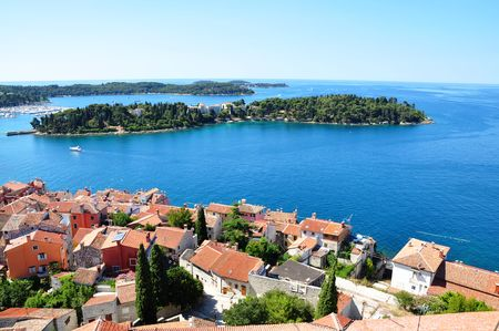 Rovinj town - coastline seascape panorama summer horizontal photo from bell tower Church of St.Euphemia, Croatia Stock Photo