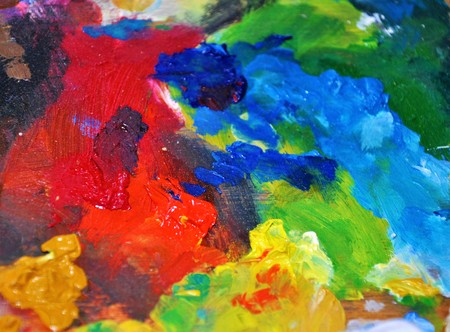 Bright colors oil-paint red blue mixing palette pallet photo