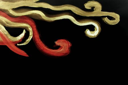 barbaric: Dark unusual hand-drawn empty and decorated wavy curves lines background