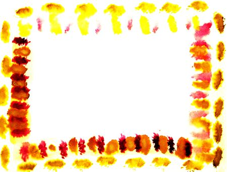 Abstrcat watercolor drawn orange yellow design frame background