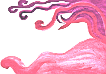 complementary: Pastel original hand drawn rose pink curvy decor design and white background