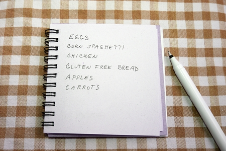 Shopping list with healthy gluten free grocery