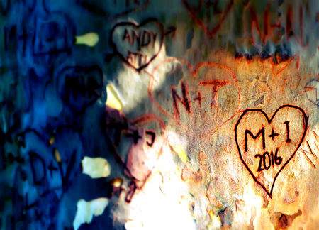 Cut out love memory inscriptions on tree strain tribe, abstract romantic image