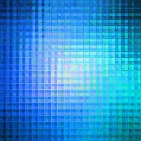 Bright blue colored little cubes or tiles texture backdrop