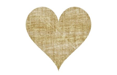 Canvas textile fabric beige heart shape isolated on white