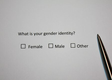 Survey question: What is your gender identity? Female, Male or Other. Sexual and gender nowadays topic.
