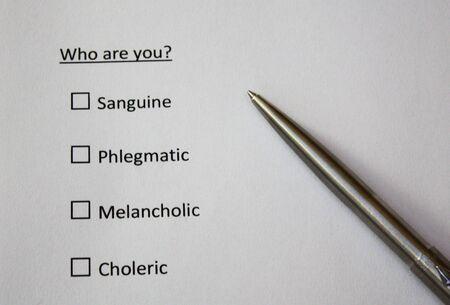 Qui es-tu? Question. Personnalités sanguines, flegmatiques, mélancoliques, colériques. Banque d'images