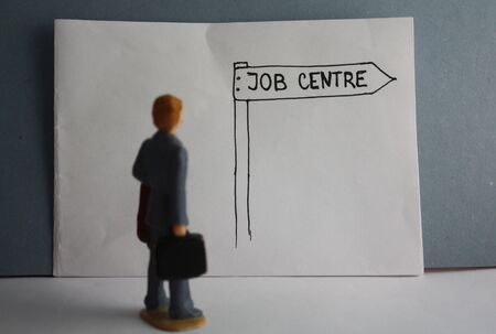 Job centre handdrawn guidance arrow, visit a job center, unemployed miniature man.