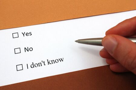 Yes or No or I don´t know answer options. Decide or plannning or problems topics. Stok Fotoğraf