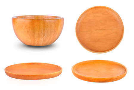 collection Wood plate isolated on white background. Фото со стока