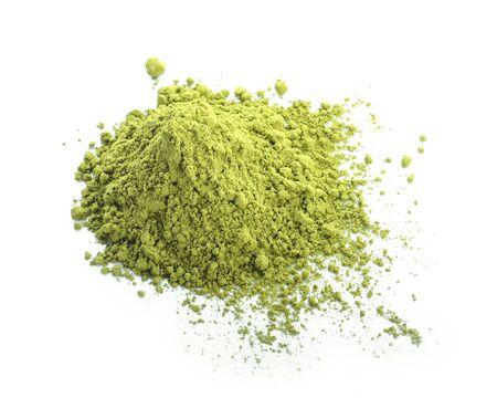 Powdered matcha green tea isolated on white background 版權商用圖片