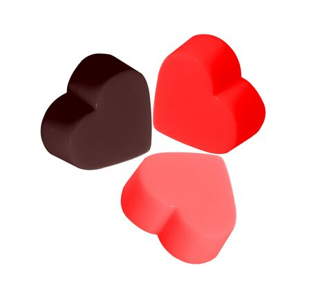 Colorful Hearts Candy for Valentines Day on white background
