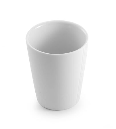 empty ceramic cup on white background