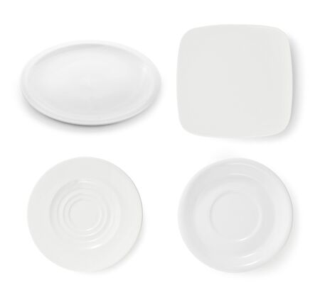 set of white plate on white background