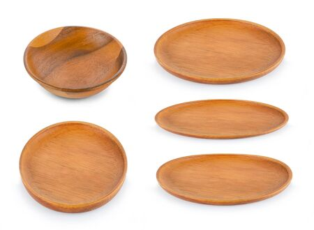 collection Wood plate isolated on white background