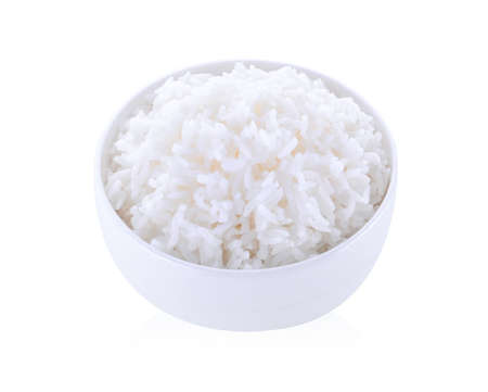 rice in bowl isolated on white background Stock fotó