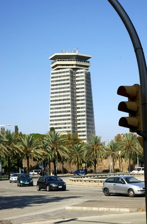 singular architecture: Street of Barcelona with building skyscraper.