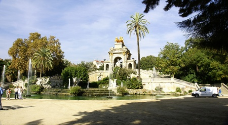 Panoramic of the pond of the Park of the Ciudadela in Barcelona