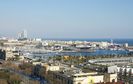 Panoramic of the port of Barcelona