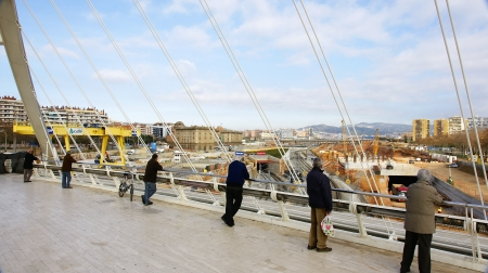People looking from Calatrava s bridge, Barcelona Stock Photo - 13893240