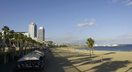 Panoramic of the beach of the Barceloneta Stock Photo