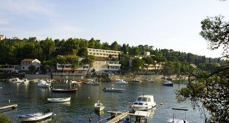 hitching post: Panoramic of Cavtat s wharf, Croatia Stock Photo