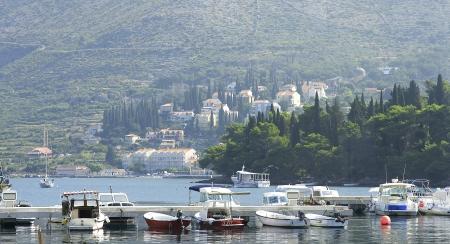 hitching post: Panoramic of Cavtat s wharf, Croatia Editorial