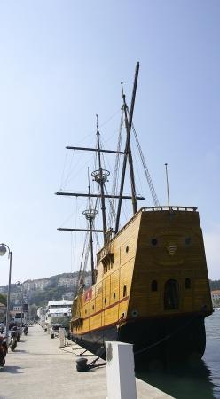Ancient sailboat held up in the port of Dubrovnik, Croatia