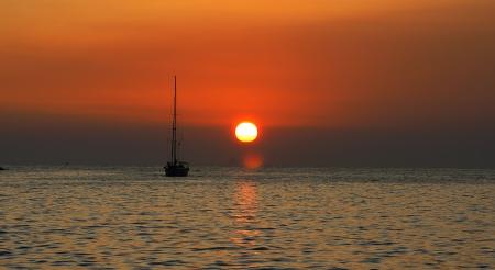 Sunset in Cavtat with Velero, Croatia