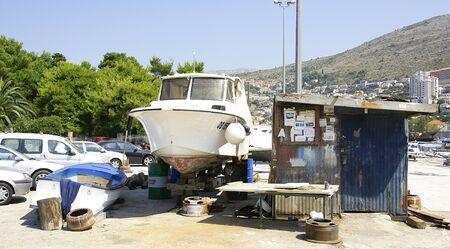 botched: Shipyard improvised in a park in Dubrovnik, Croatia Editorial